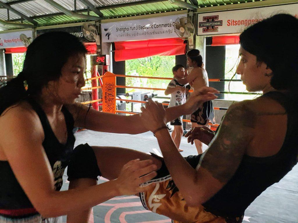 clinching training boxing gym women muay ying