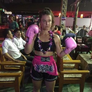 Carody before one of her fights in Phuket, Thailand