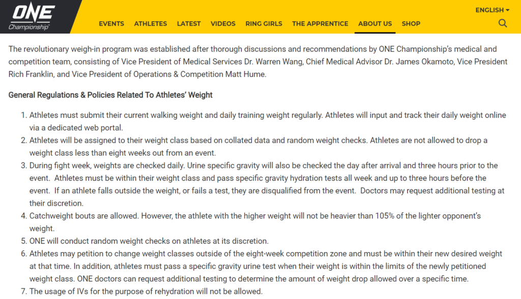 One FC's Weight Requirements, as per their website