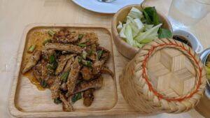 bangkok emquartier vegan vegetarian nam dtok sticky rice issan food